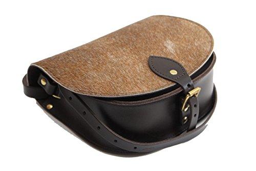 Dunkelbrauner Kuhfellpelz Echtes Rindsleder Sattel Crossbody Handtasche mit Schnalle und verstellbarem Riemen