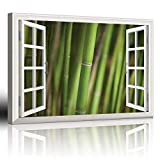 "good looking bamboo wall mural  Canvas Wall Art Modern White Window Looking Out Into a Bamboo Forest III Painting on Canvas with Stretched Frame Giclee Print Ready to Hang Home Office Decorations, 24"" x 36"" inches"