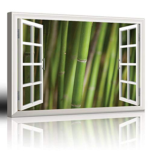 "Canvas Wall Art Modern White Window Looking Out Into a Bamboo Forest III Painting on Canvas with Stretched Frame Giclee Print Ready to Hang Home Office Decorations, 24"" x 36"" inches"
