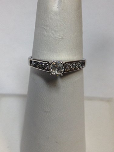 10 Karat White Gold Cathedral Diamond Engagement Ring 3/8 Carat Total Weight Cathedral Four Prong
