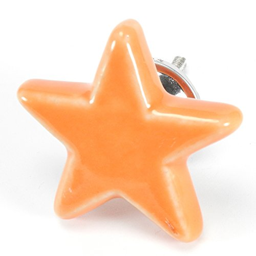 Yellow Orange Ceramic Star Cabinet Knobs, Drawer Pulls & Handles Set/8pc ~ C07 Star Shape Ceramic Knobs for Cabinets, Children's Dresser, Kitchen Cabinets and Cupboards with Chrome Hardware