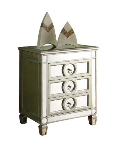 monarch specialties 3drawer accent table mirrored