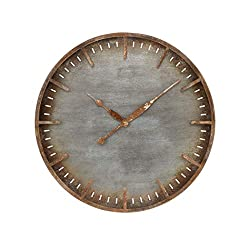 AR Lighting Ironhull Wall Clock in Rusted Pewter and Rust