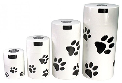 Pawvacs Set of 4 ( 3, 6, 12, 24 Ounce ) Vacuum Sealed Pet Food Storage Containers; White Cap & Body/Black Paws
