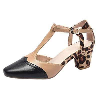 RizaBina Cone Heels Women Summer Shoes T-Strap Sandels Two Tone Classic Closed Toe Sandals Beige Size 33 Asian