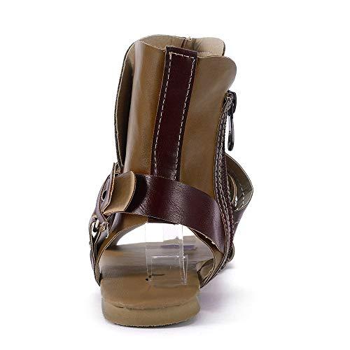 PU Sandalias Retro la Oto para de Planos de Ayuda Zapatos Se Grande Bicolor Talla o Botines PAOLIAN ora Vestir Moda Cuero Dama Impermeable Romano Blanda de Mujer Suela 2018 Zapatos Amarillo Calzado w8TOXwx