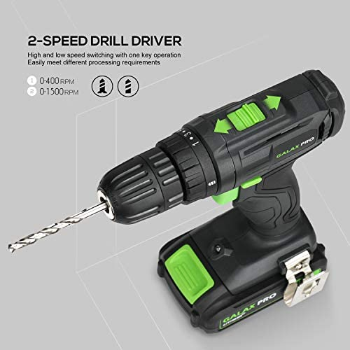 Cordless DIY Power Tool Kit GALAX PRO, 2-Speed Drill Driver 20V, Cordless Torch 110Lm, USB Adaptor 20V, 2 x Battery Li-Ion 1,3Ah and Charger with Package