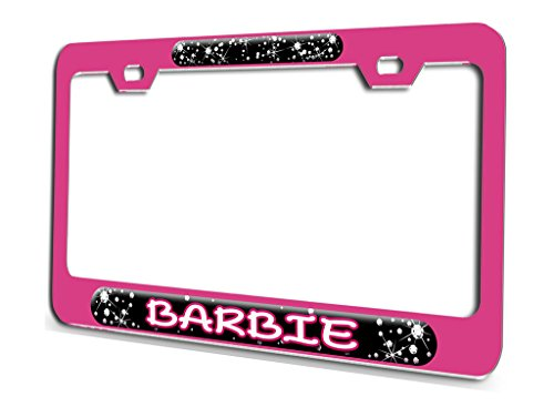 (BARBIE Princess Pink Steel License Plate Frame 3D Style)