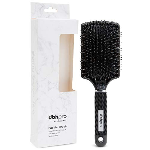 Paddle Hair Brush for Blow Drying with Boar and Nylon Bristles - Flat Styling Brushes For Men, Women - Natural Boar Bristle, Soft Paddle, Professional Quality - Detangling, Straightening Tool (Best Flat Brush For Blow Drying)