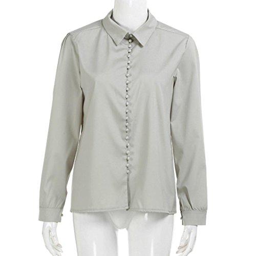 Solide Femme LMMVP Manche Femme T gris L Dcontracte Bleu Chemise Blouses Longue Revers Shirt 1w1Xt6