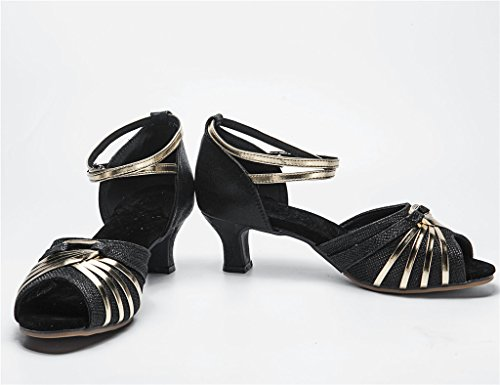 Ballroom Glittering Ladies Black 5 Dance peeptoe Shoes 7 Striped Straps with Latin Ankle Salsa tTHdHwq