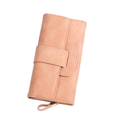 color Lady Tarjetero Cuero Pink De Mujer Black Wallet Hebilla Clutch Tríptico Suave Cvthfyk Purse Para Largo TxOPdpxqw