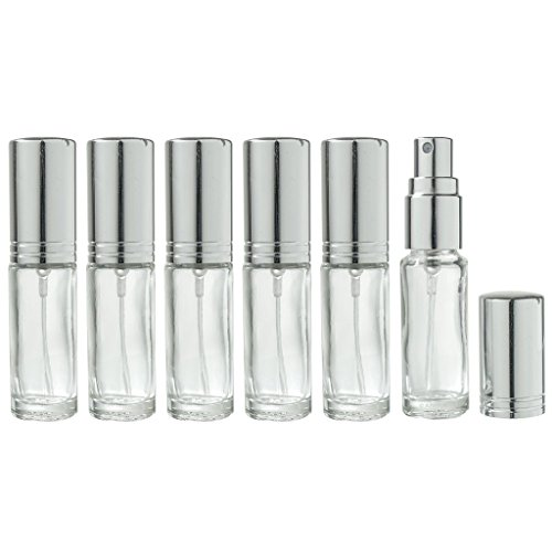 Clear Glass Refillable Travel Perfume Spray Bottle - .15 oz (6 (0.15 Ounce Bottle)