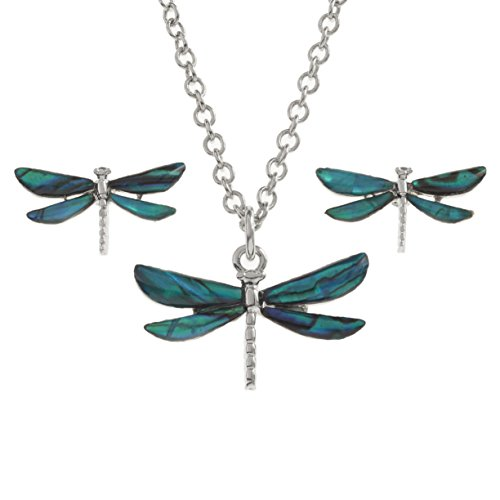 Abalone Paua Turquoise Shell Dragonfly Pendant and Earrings ()