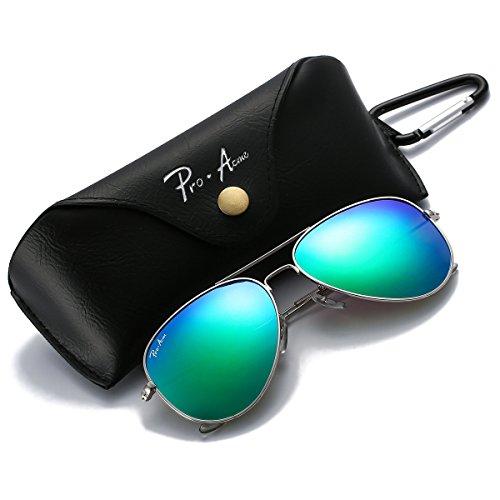 Pro Acme PA3026 Large Metal Polarized Aviator Sunglasses with Eyeglasses Case (Green Mirrored - Aviators Green Mirrored
