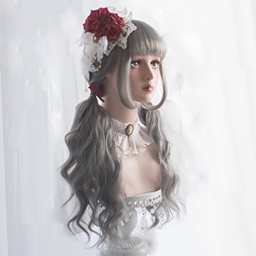 Long Wavy Grey Wig Bangs - Natural Gray Wigs for Women and Girls Cosplay Costume, Lolita Style Synthetic Hair with Wig Cap by Alice Garden Wigs (Image #1)