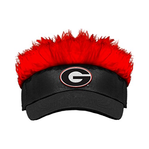 NCAA Georgia Bulldogs Flair Hair Visor, Black/Red, One Size (Hats With Hair Attached)