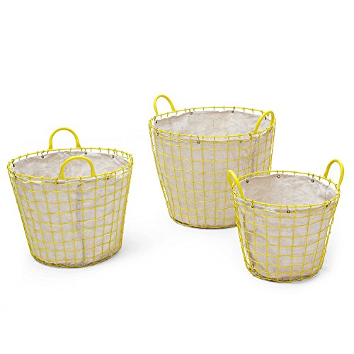 Adeco Oval Urban Style laundry Baskets with yellow Wired Detail on Liner Home Decor, Set of 3