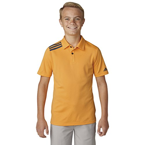 adidas Golf Boys' 3-Stripe Polo, Real Gold, Large