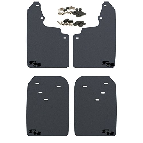 Toyota Tacoma Mud Flaps - RokBlokz Mud Flaps for Toyota Tacoma - Fits 2016+ Model Years - Multiple Colors Available - Set of 4 - Includes Hardware and Detailed Instructions (Regular, Black with Black Logo)