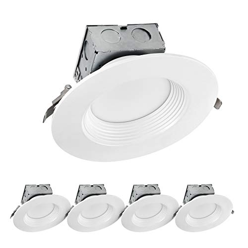 LUXTER (4 Pack) 6 inch LED Ceiling Recessed Downlight With Junction Box, LED Canless Downlight, Baffle Trim, Dimmable, IC Rated, 15W(120Watt Repl) 3000K 1100Lm Wet Location ETL and Energy Star Listed