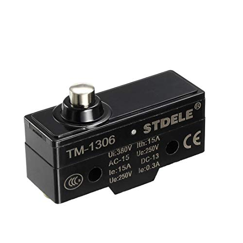 uxcell TM-1306 SPDT 1NO+1NC Short Reed Snap Button Lever Type Micro Switch Screw Terminals