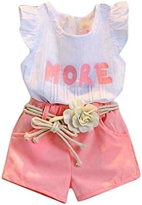 bc42154a41c7 Amlaiworld Ropa niña Bebé Chicas Impresión Camiseta sin mangas + Pantalones  cortos + Cinturón Conjunto de ropa trajes 2 Años - 7 Años (Rosado, ...