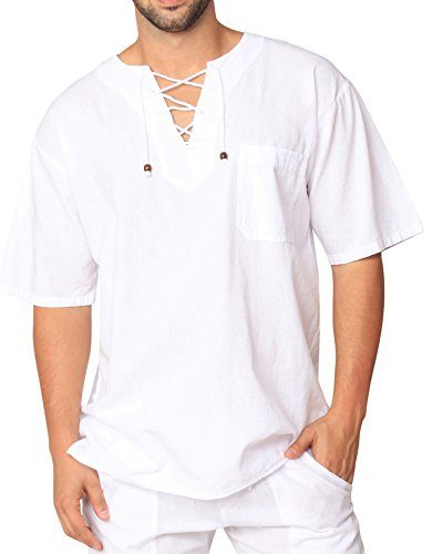 PURE COTTON Men's White Shirt 100% Cotton Casual Hippie Shirt V-Neck Drawstring Short Sleeve Beach Yoga Top (White, Large) -