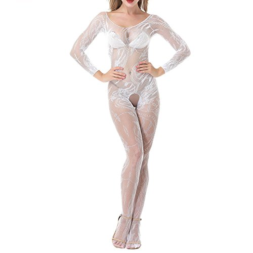 Sexy Lingerie for Women for Sex, Women's Fishnet Stretch Floral Bodystocking Bodysuit Babydoll Leotard Crotchless Elastic Tights Nightwear Open Crotch Teddy (White, Free (Full Leather Teddy)