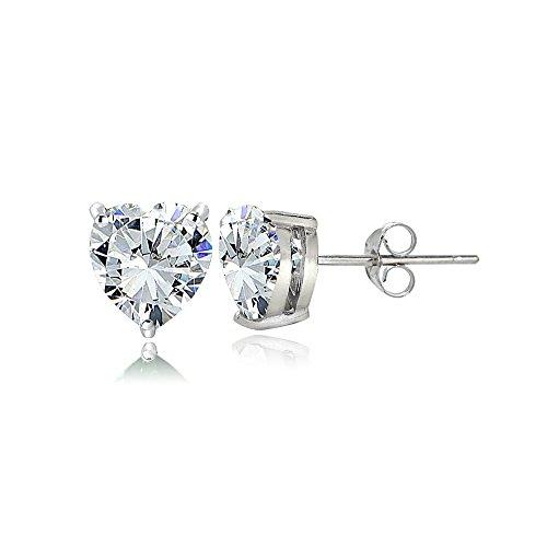 Sterling Silver Cubic Zirconia 5mm Heart Stud Earrings
