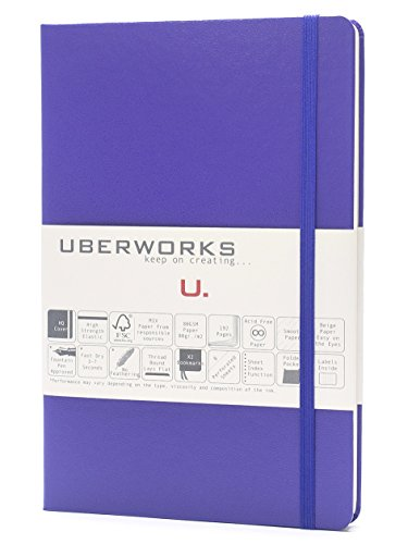 UBERWORKS Tehnik Classic Hardcover Dotted Notebook | Stay Organized | Premium Writing, All Purpose, Bullet Journal, Planner, Organizer, BuJo | 192 A5 Dot-grid Pages with Back Pocket | Lavender Purple by UBERWORKS