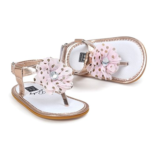 Baby Schuhe Auxma Baby Mädchen Blumen Sommer Sandalen Anti-Rutsch-Krippe Schuhe Für 3-18 Monate (3-7 M, Rosa) D