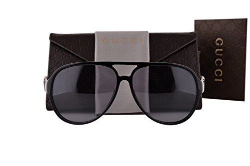 Gucci GG1065/S Sunglasses Black PMC White w/Gray Lens 4UQ3R GG - Gucci Retro Sunglasses 62mm