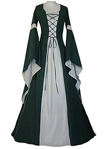 Sinastar Halloween Cosplay Women Western Medieval Square-cut Collar Long Trumpet sleeved Sexy Dresses