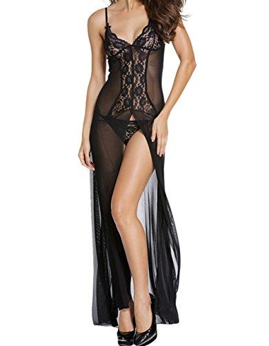 YFFaye Women's Bride to Be black Sleepwear Gown