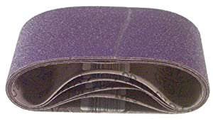 3M 81433 4-Inch x 24-Inch Purple Regalite Resin Bond 120 Grit Cloth Sanding Belt, Pack of 5