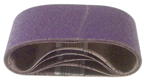 3M 81431 4-Inch x 24-Inch Purple Regalite Resin Bond 80 Grit Cloth Sanding Belt, Pack of 5