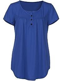 Women's Tunic Tops Shirt Crewneck Short Sleeve Button Shirts Flared Casual Teen Girls Blouse Sale Clearance
