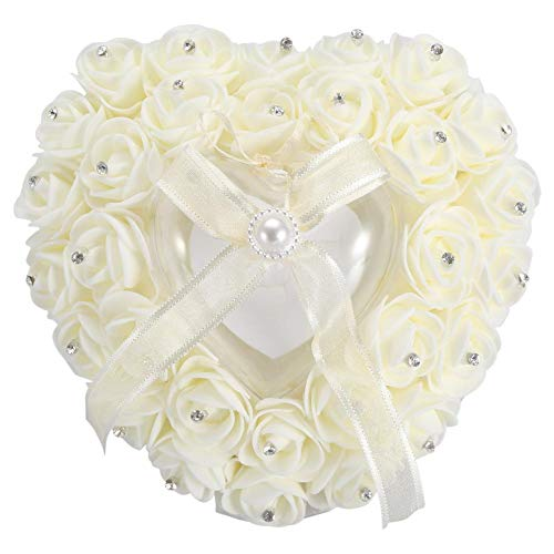 Ring Pillow for Wedding, Romantic Heart-Shaped Ring Cushion for Wedding Party Decoration ()