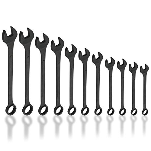 Neiko 03131A Jumbo Combination Wrench Set, Drop Forged Steel with Black-Oxide | Metric (34mm - 50mm) | 11 Piece Set