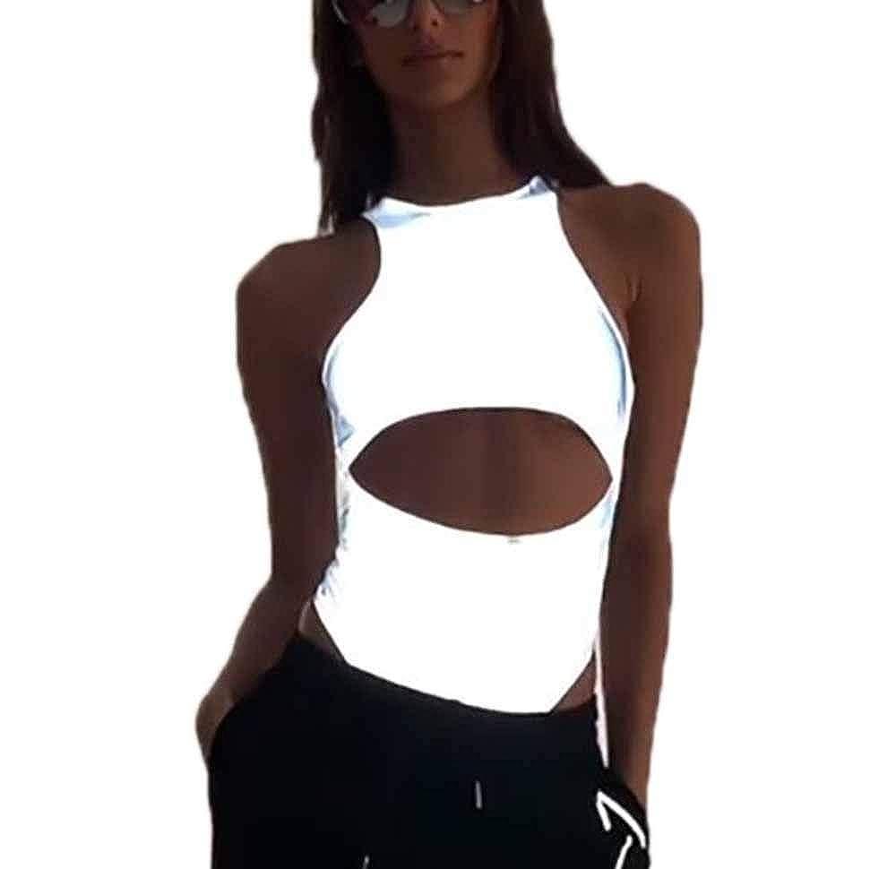 Domorebest T-Shirt A Maniche Corte Riflettente Donna//Body Aderente Elasticizzato
