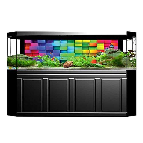 JiahongPan Background Fish Tank Sticker Rainbow Color Contour Display Futuristic Block Brick Like Artisan PVC Paper Cling Decals Sticker L29.5 x H21.6