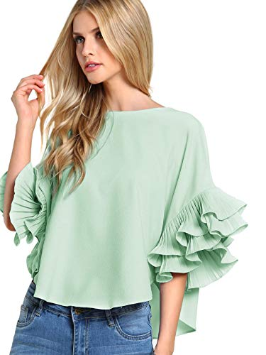 DIDK Women's Plain Ruffle Bell Sleeve Boat Neck Solid Top Green L