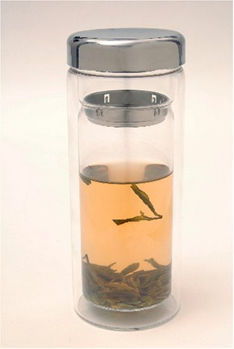 **NEW Design** Glass and Stainless Steel Tea Brewing Tumbler - Large 16 Oz
