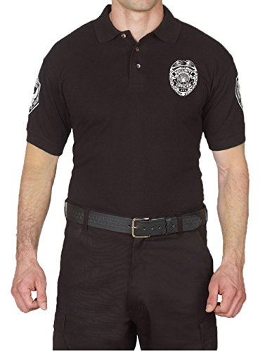Security Uniform Patches (First Class 100% Cotton Security Long Sleeve Polo Shirts (Large, Short Sleeve))