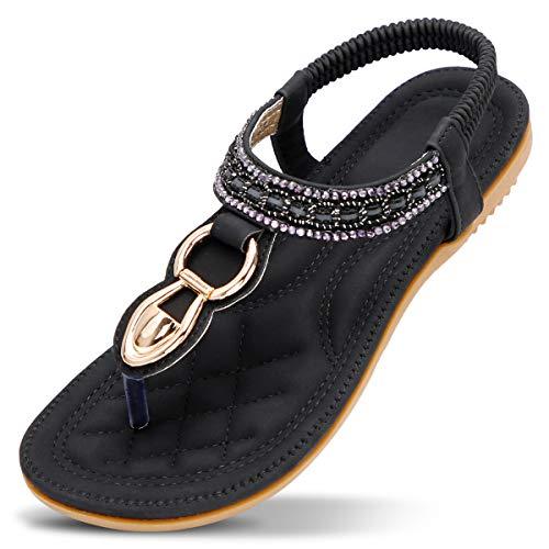 ZOEREA Ladies Sandals Peep Toe T-Strap Bohemia Women Sandals Flats Flip Flops Beach Holiday (9 B(M) US, Black)