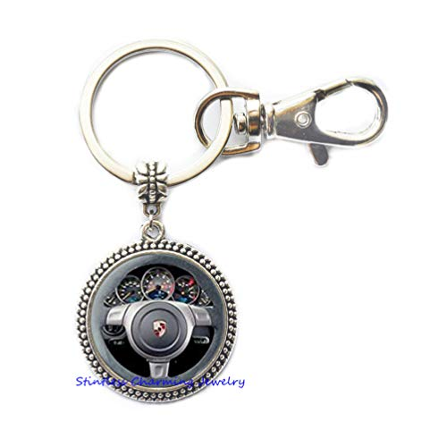 Steering Wheel Keychain Wheel Keychain Wedding Keychain Summer Keychain Steering Wheel Jewelry Beach Jewelry,Photo Key Ring Art Key Ring Photo jewelry-JP330 (Steering Wheel Keychain Ring)