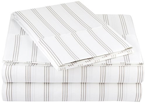 AmazonBasics Microfiber Sheet Set - Twin, Grey Stripe