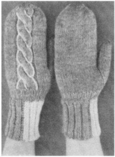 #1982 MAMMOTH-CABLE MITTENS VINTAGE KNITTING PATTERN