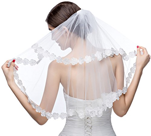 Edith qi 2T 2 Tier Short Blusher Bridal Wedding Veil Appliques Edge with Comb